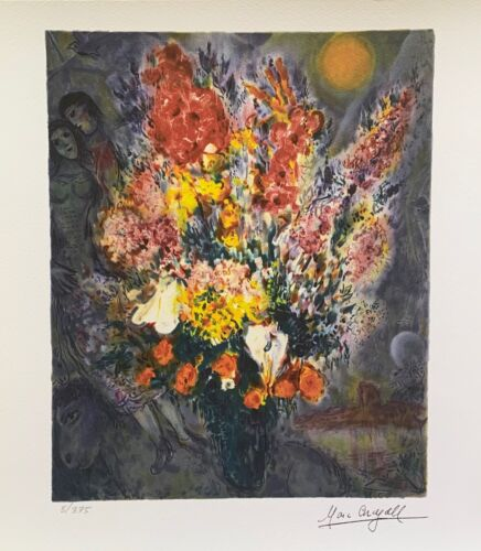 """Marc Chagall ORIGINAL BOUQUET Limited Edition Facsimile Signed Giclee 12"""" x 11"""""""