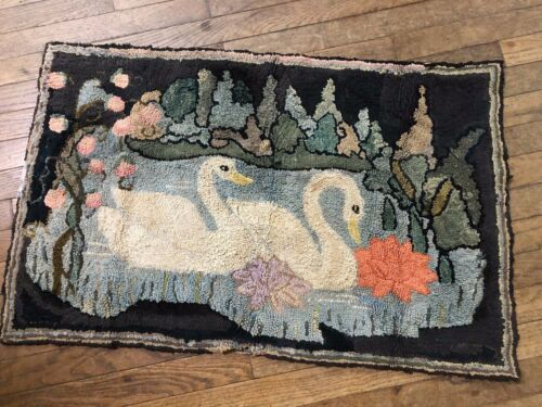 Antique Folk Art Hooked Rug. with 2 Swans Swimming ~ Unusual Subject ~ TX27