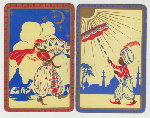 Playing Swap Cards  GENUINE 2 only single INDIAN PEOPLE DANCING & wtth UMBRELLA
