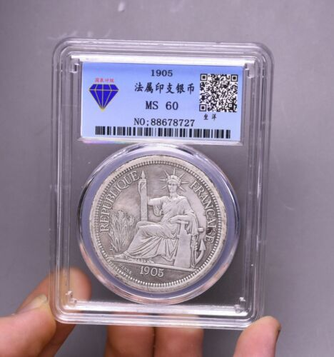 8.5CM China Pure silver Dynasty Fengshui France Statue Liberty Hole Money Coin