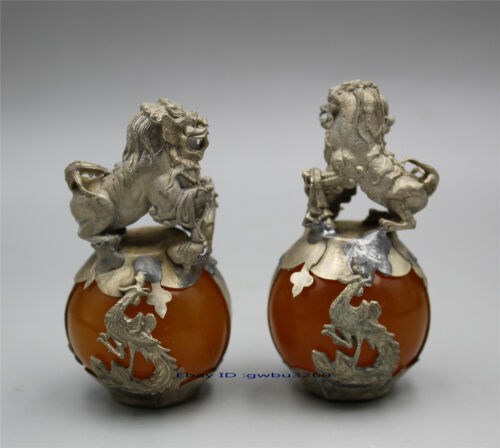 A PAIR CHINESE CARVED JADE & SILVER DRAGON FOO DOGS STATUE Q46