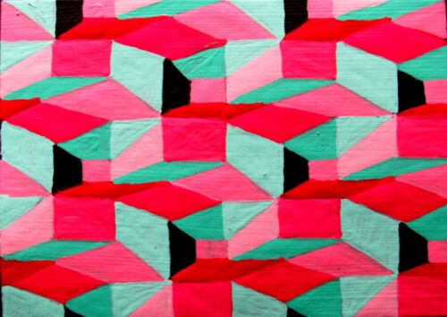 ACEO Small Original Painting GEOMETRIC OP ART SONG abstract outsider JEFF ZENICK
