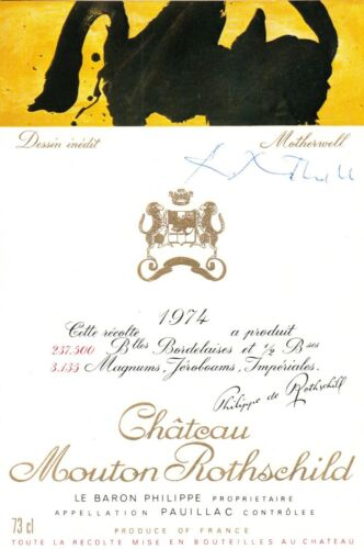 ROBERT MOTHERWELL. Signed 1974 mint label for his CHÂTEAU MOUTON ROTHSCHILD art.