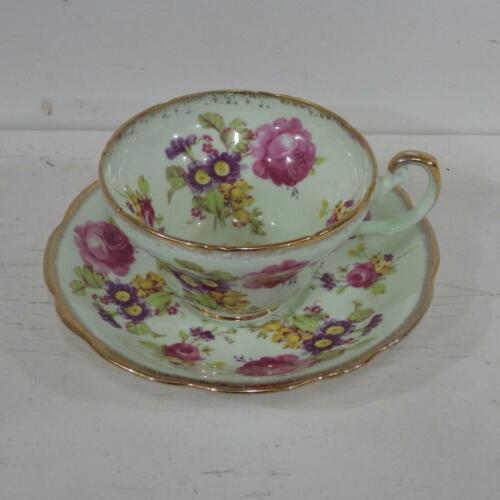 Vintage Foley duo,cup & saucer pink roses & meadow flowers,mint green background