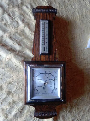 Antique OAK ENGLISH barometer & thermometer 41cm tall *good working order