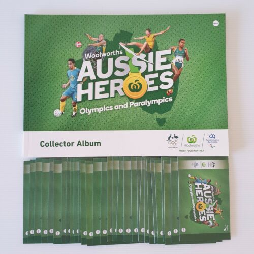 Woolworths Aussie Heroes Olympics Collector Album & 31 Unopened Sticker Packs