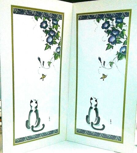 """2 NEW MATCHED PRINTS 'CAT CHASING BUTTERFLY' LITHO 10"""" x 20"""" MARTHA P. KLARE 02'"""