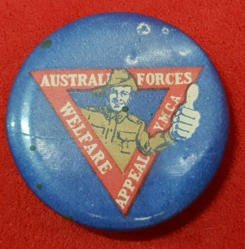 POST WW2 AUSTRALIA FORCES WELFARE APPEAL YMCA BUTTON BADGE