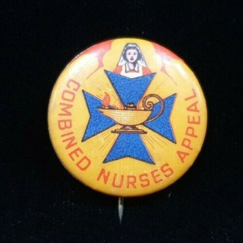 POST WW2 COMBINED NURSES APPEAL BUTTON BADGE