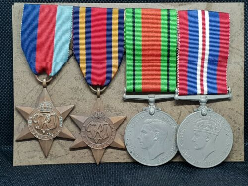 WW2 BRITISH MEDAL GROUP OF 4 & PATCH