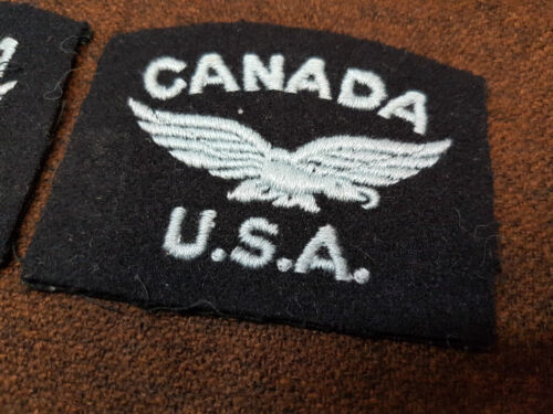 WW2 CANADA USA AIR FORCE EMBROIDERED EAGLE BADGE PAIR