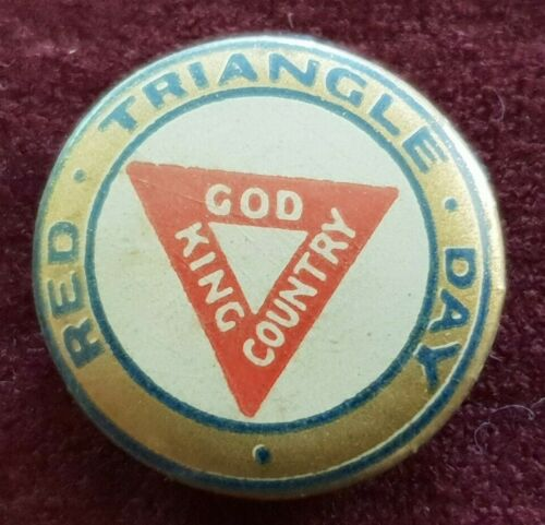 WW2 RED TRIANGLE DAY GOD KING COUNTRY BUTTON BADGE