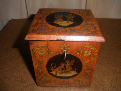 ANTIQUE MARQUETRY TEA CADDY BOX PEOPLE DRAGON MOTIF