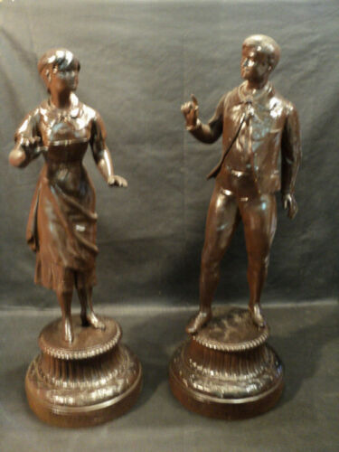 LOVELY PAIR OF ANTIQUE BRONZE SPELTER STATUES c.1890's