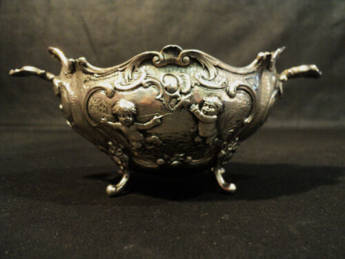 ANTIQUE CONTINENTAL SILVER CHASED BOWL, CHERUB DESIGN