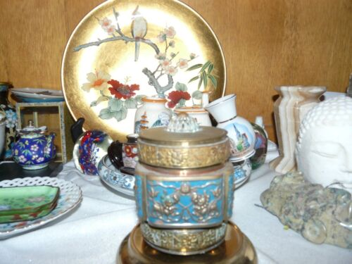 Old Enamel and Brass Chinese Tobacco Jar/pot