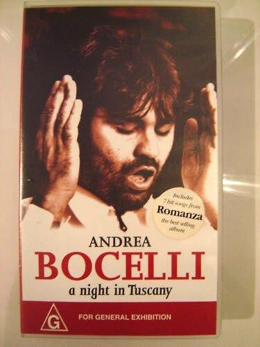 """ANDREA BOCELLI """"A NIGHT IN TUSCANY"""" ~ VHS VIDEO ~ FREE POST"""