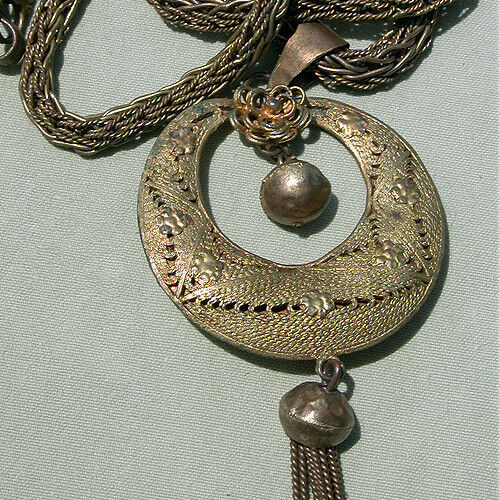 a yoruba hand made brass chain with gilded pendant nigeria #2