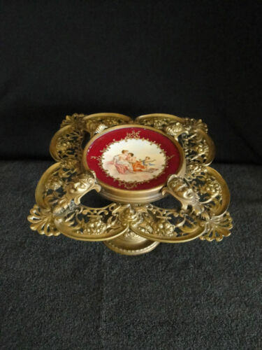 VERY RARE 19TH CENTURY BRASS COMPOTE WITH FACES & HAND PAINTED PORCELAIN PLATE