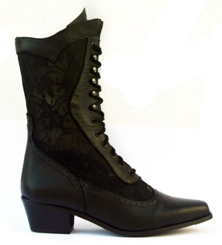 Ladies Western Cowboy Cowgirl Boots Black Leather   (Style Cathedral)
