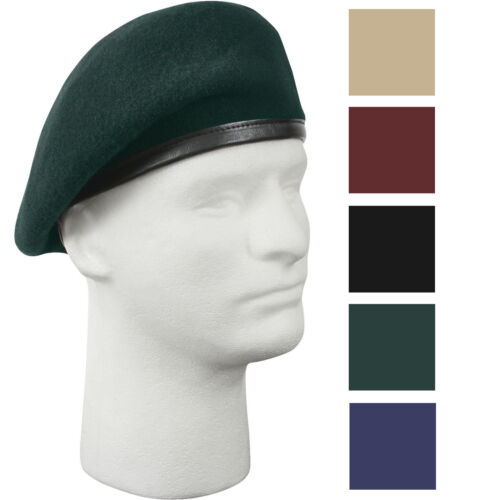 Military Wool Beret - Inspection Ready Pre-Shaved Badge Tactical US Army JROTC