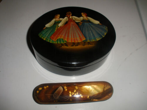 TWO RUSSIAN HAND PAINTED FEDOSKINO LACQUER BOXES THREE DANCERS VINTAGE BOX