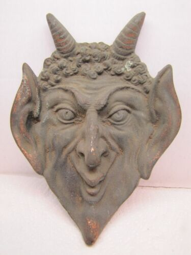 Antique DEVIL HORNED HEAD Tray Ashtray Trinket Coin High Relief Ornate Exquisite