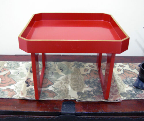 Lg Japanese Vermillion Lacquer Wood-Tray-Table (Zen)-Late Meiji/early Taisho