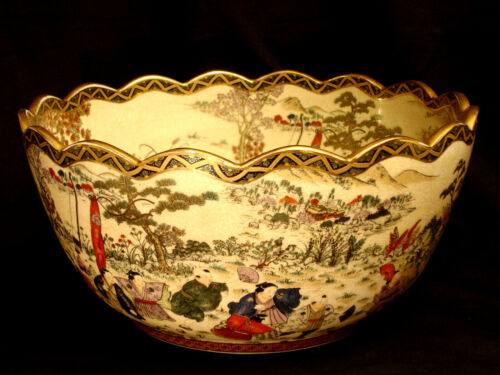 "15 1/2"" D JAPANESE SHOWA PERIOD SATSUMA SCALLOPED BOWL"
