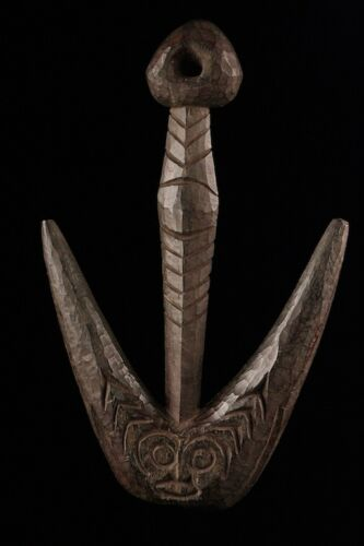 papuan food hook, sepik figure, oceania, pacific art