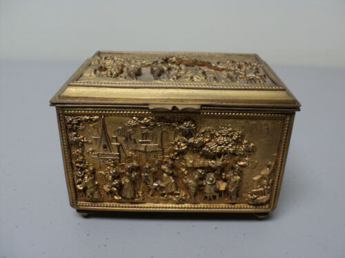 UNUSUAL ANTIQUE BRONZE DRESSER BOX with PICTORAL SCENES IN RELIEF