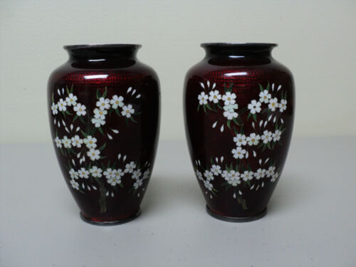 "PAIR JAPANESE ""GINBARI"" CLOISONNE AKASUKE PIGEON BLOOD VASES, NICKLE SILVER RIMS"