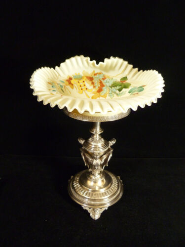RUFFLED BOWL ON SILVER PLATED CHERUB OR ANGEL CENTERPIECE STAND – CIRCA 1887