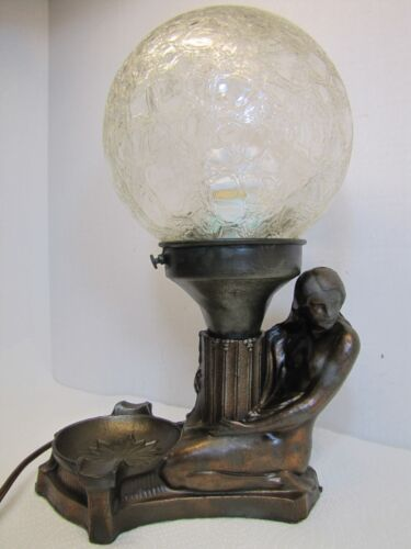 1930s Art Deco Nude Beauty Woman Lamp Cigar Ashtray figural speckle finish globe