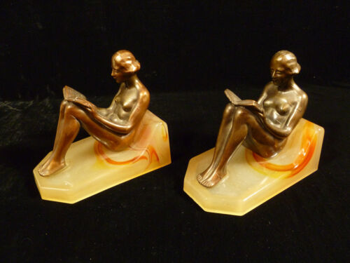 ART DECO COPPER PLATED SPELTER LADIES READING BOOKENDS ON AKRO AGATE GLASS BASES