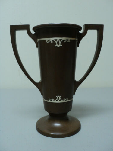 SILVER CREST BRONZE ART DECO VASE, STERLING SILVER INLAID DECORATION, c. 1930's