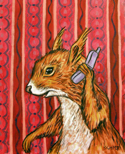 RED SQUIRREL CELL PHONE painting animal art  13x19 GLOSSY PRINT