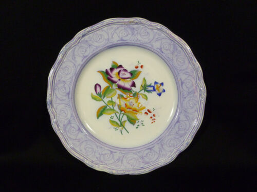 GORGEOUS ENGLISH OR EUROPEAN HAND PAINTED FLORAL MULBERRY PLATE - CIRCA 1830