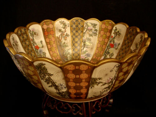 "16""  MARKED Satsuma JAPANESE MEIJI PERIOD SATSUMA SCALLOPED BOWL"