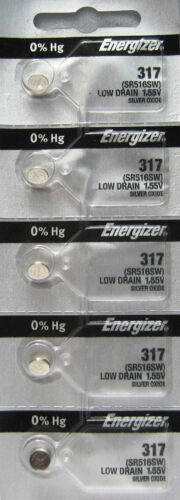 Energizer 317 (SR516SW) Silver Oxide Watch Batteries (1 pack of 5)
