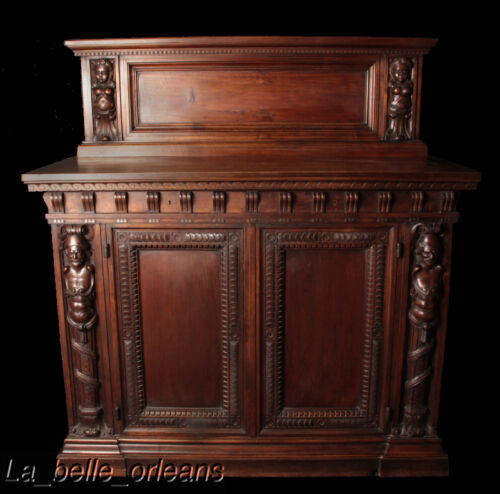 SUPERB WALNUT CARVED FIGURAL CABINET WITH HUTCH. WOW!!!