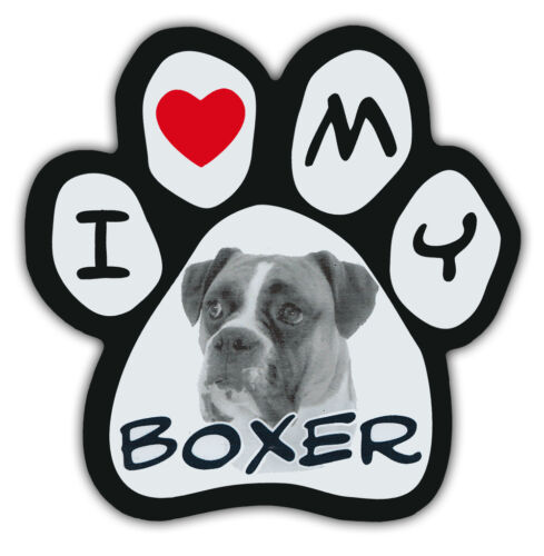 Picture Paws | Dog Paw Shaped Magnets: I LOVE MY BOXER | Car Magnet