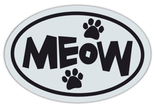 Oval Shaped Pet Magnets: MEOW BLACK AND WHITE (Cats) | Cars, Trucks