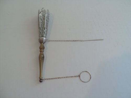 Sterling Silver Victorian Style TUSSIE MUSSIE, Hard Stone Handle