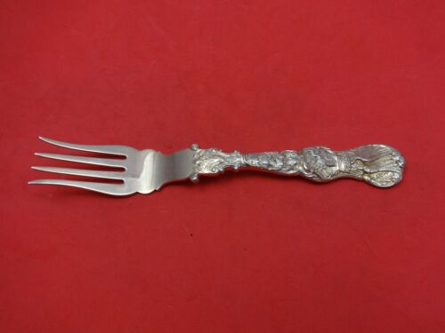 """Heraldic by Durgin Sterling Silver Fish Fork Splayed Tines Vermeil Gold 7"""""""