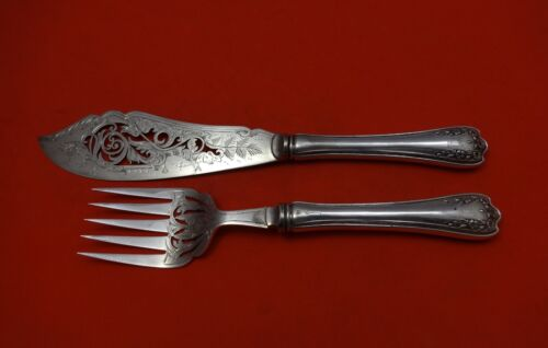 Blossom by Ssmc-Saart Sterling Silver Fish Serving Set Engraved & Pierced 2pc