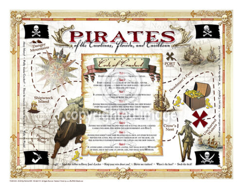 """19.5 x 25"""" Pirate's Code Vintage Look Poster Printed on French Parchment Paper"""