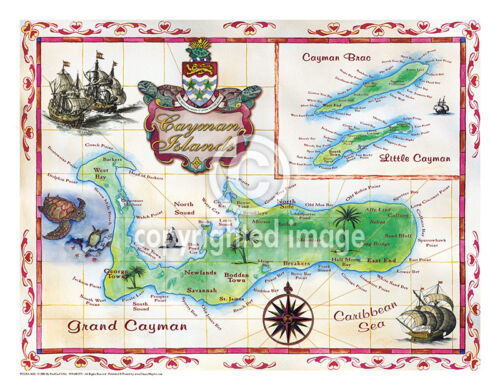 """19.5 x 25"""" Cayman Islands Vintage Look Map Printed on Frenchtone Parchment Paper"""