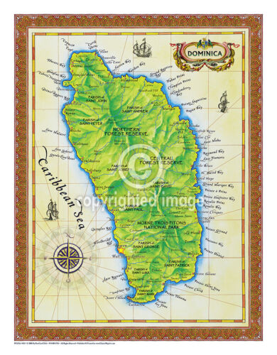 """19.5 x 25"""" Dominica Vintage Look Map Printed on Frenchtone Parchment Paper"""