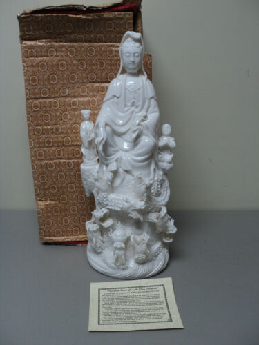 "UNUSUAL VINTAGE BLANC de CHINE CHINESE ""KWAN-YIN with NINE DRAGONS"" FIGURINE"